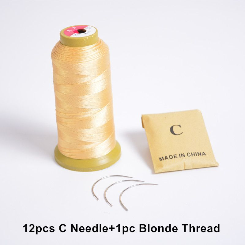 12pcs C Needle+1pc Blonde 6.5cm length C type weaving needles Curved needles and Nylon weaving thread for hair weft