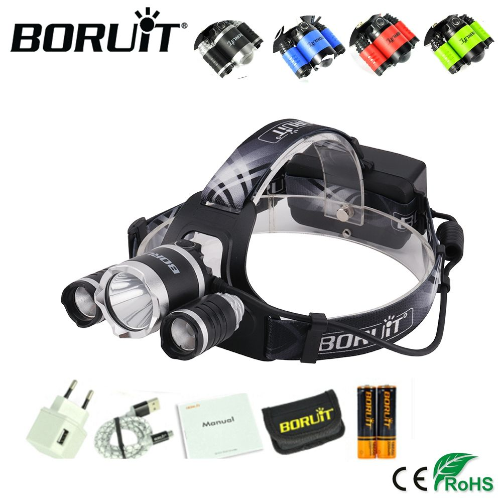 BORUiT B21 2400LM XPE XM-L2 LED Headlamp 4-Mode Headlight Hunting Frontal Lantern Camping Head Torch Power Bank Flashlight