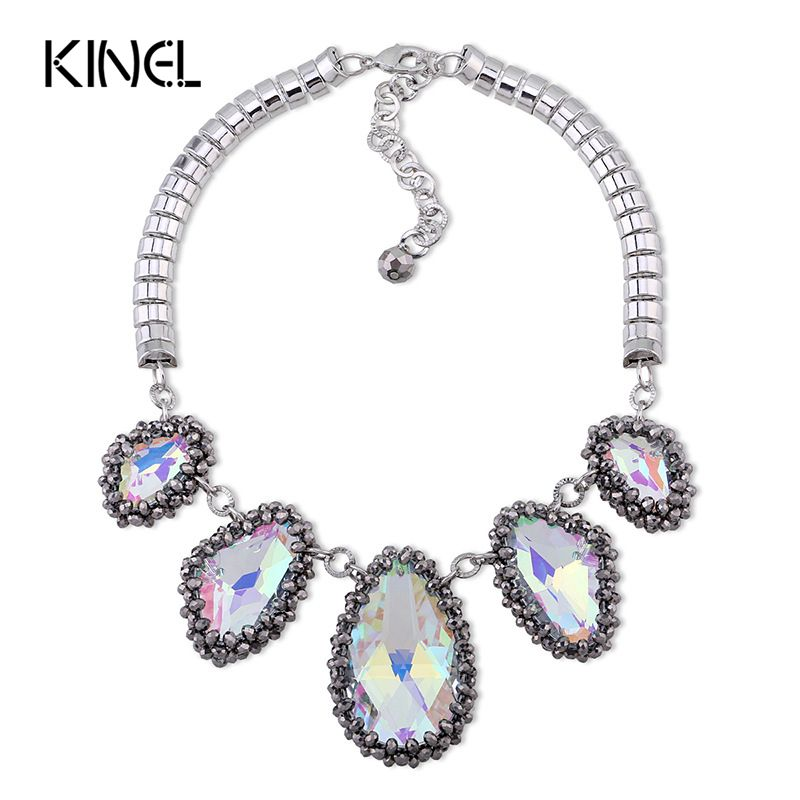 Kinel Luxury Big Crystal Stone Necklace For Women  Bohemian Fashion Punk Short Necklace Party Gift