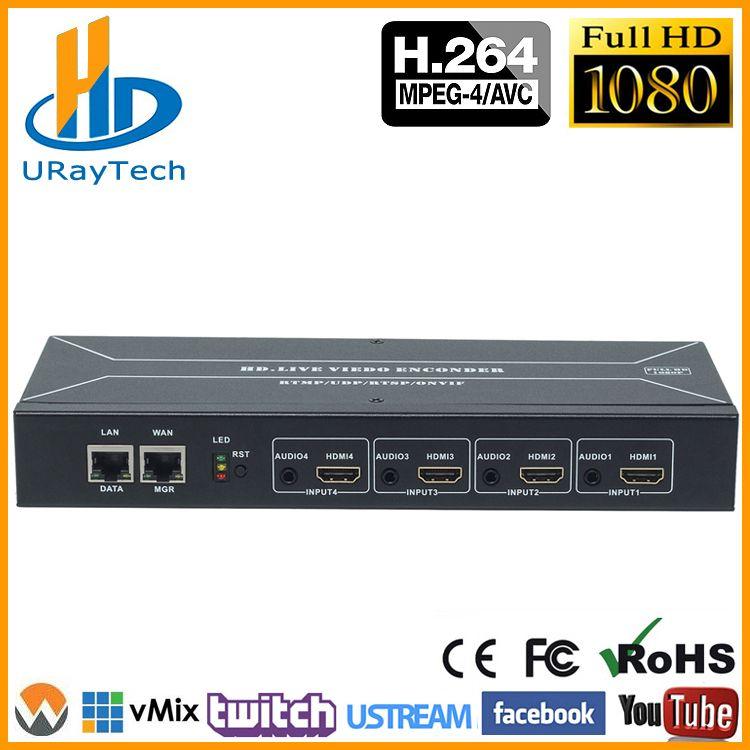 Kosten-effektive 4 Kanäle H.264 HDMI Encoder HDMI Zu HTTP RTSP RTMP HLS UDP Converter H.264 IP Video Encoder