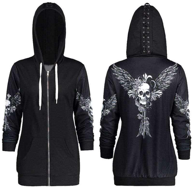 1color 5 Size Autumn Kpop Clothes Black Women Hoodies Sweatshirts Punk Long Sleeve Skull Wings Print Hooded Jacket Zipper Coat