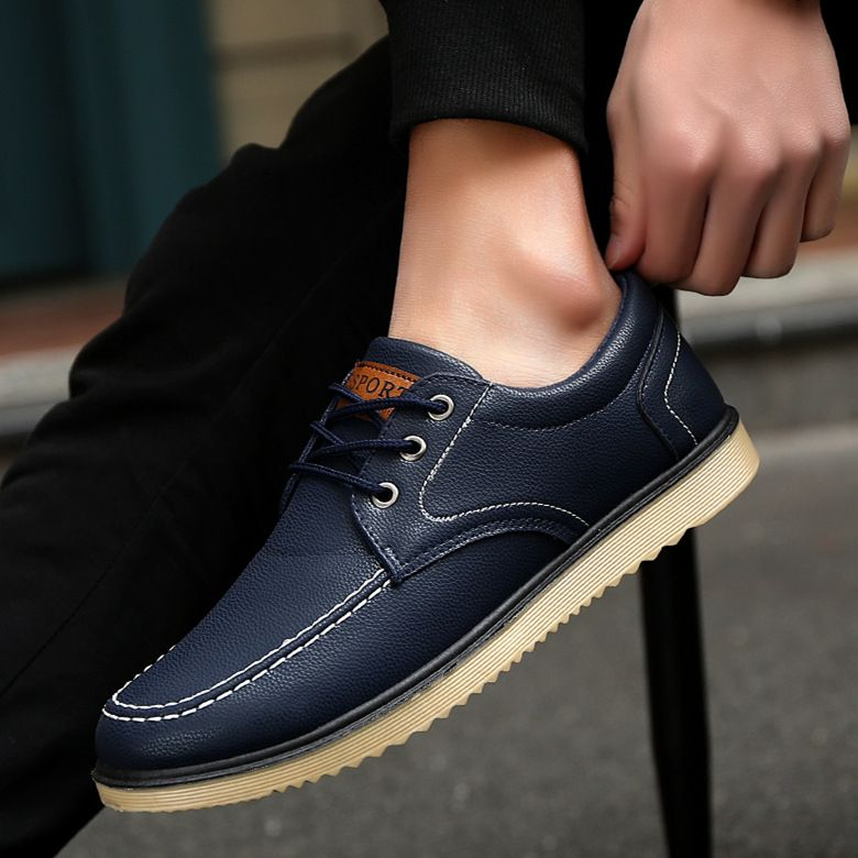 2018 autumn winter new men's casual shoes board shoes British students lace UPS,single shoes.