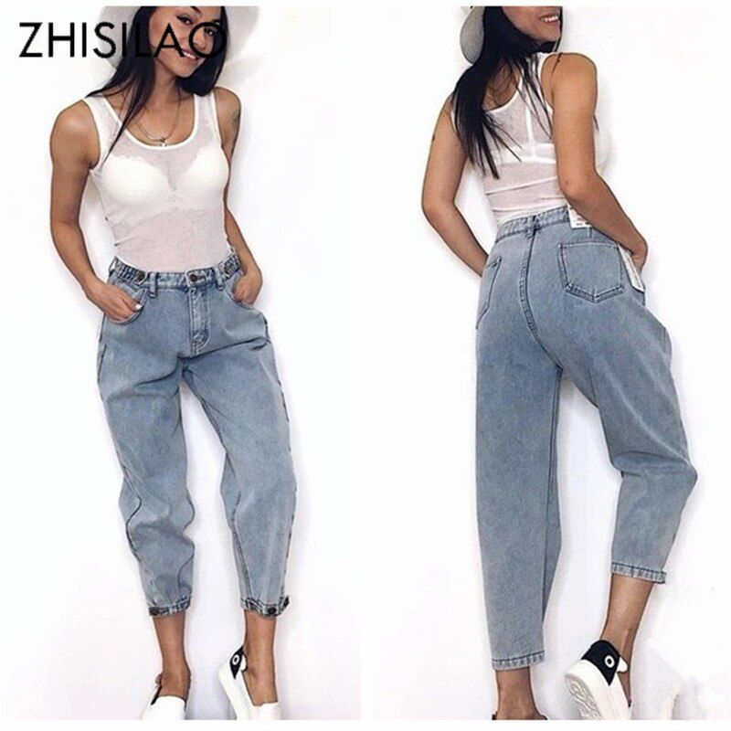 Femmes 2019 maman Jeans Harem Jeans pantalon denim décontracté petits amis Jeans Femme pantalon déchiré Jeans Vintage rétro