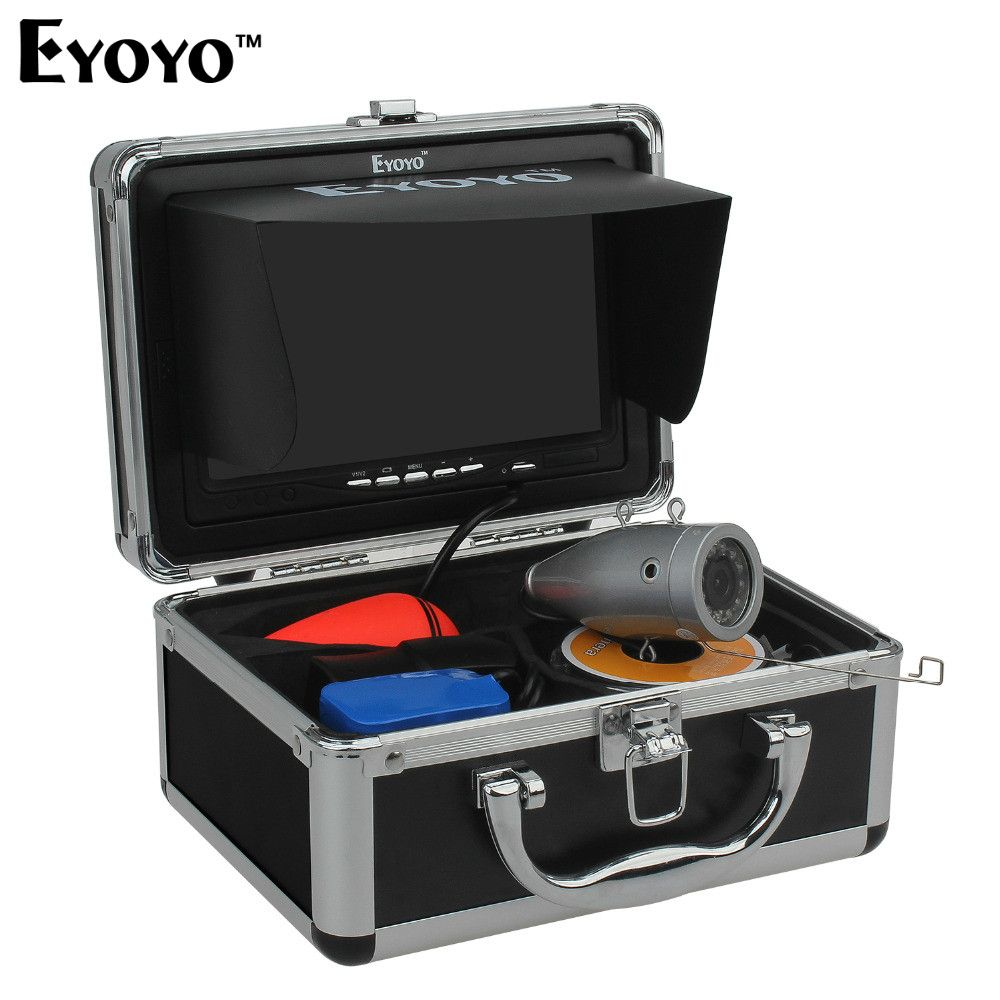 Eyoyo 30M 1000TVL Full Silver Underwater Camera for Fishing 12Pcs Infrared IR LED 7