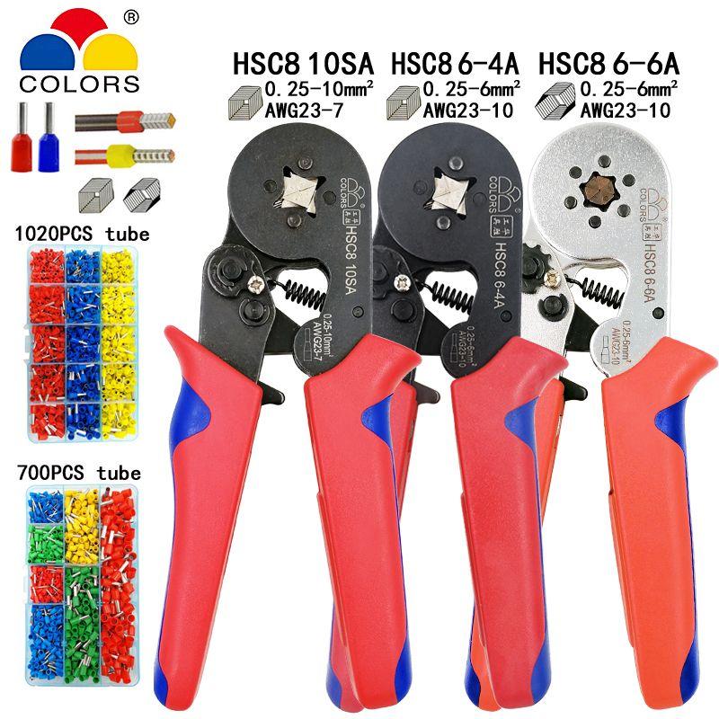 HSC8 10SA 0.25-10mm2 23-7AWG pince à sertir HSC8 6-4A HSC8 6-6 0.25-6mm2 mini ronde nez pince tube aiguille bornes boîte outils