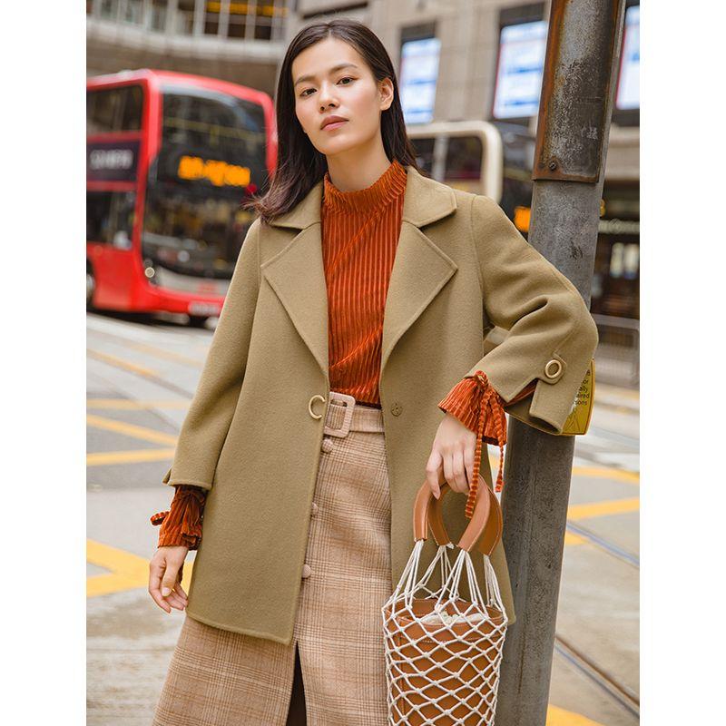 INMAN Autumn Medium Long Turn Down Collar Double Side Causal Styl Wool Women Coat
