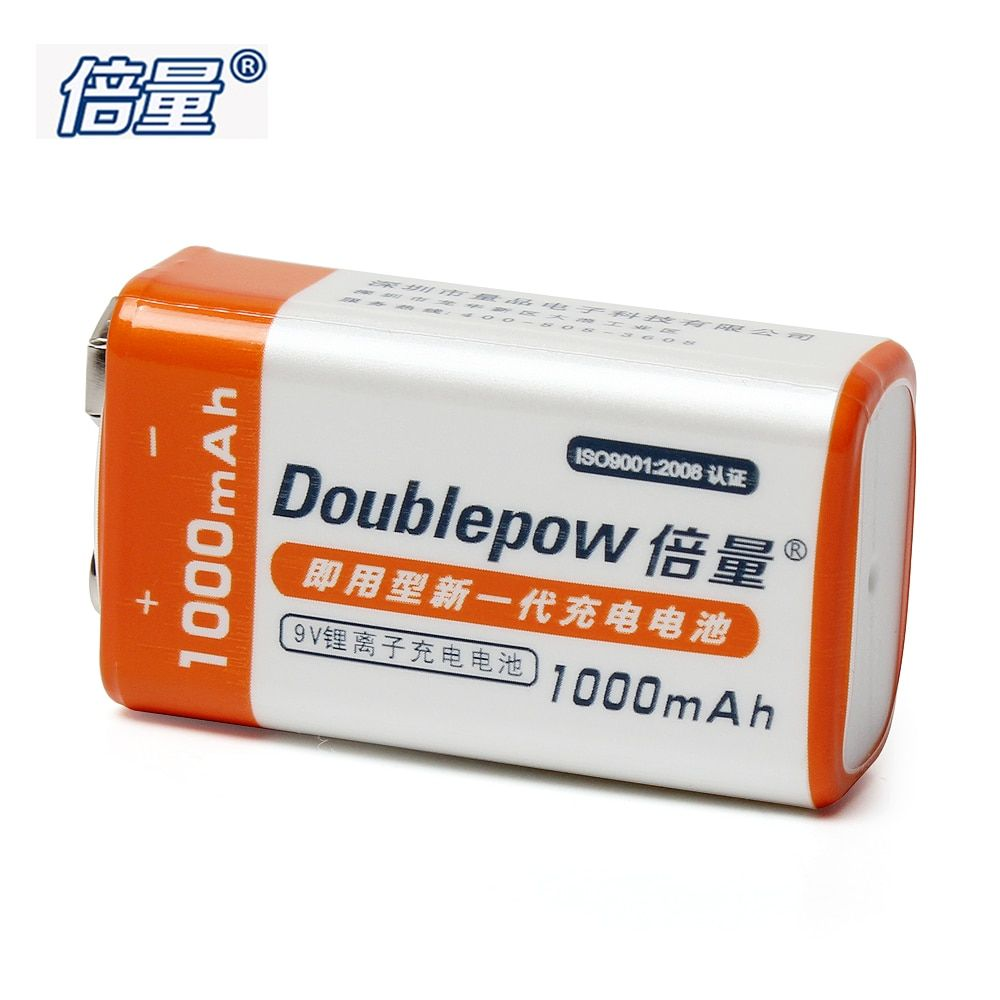1pcs Doublepow 1000mAh 9V Rechargeable Battery LSD Li-ion Lithium Prismatic Battery Recargable Bateria with 1200 Cycle