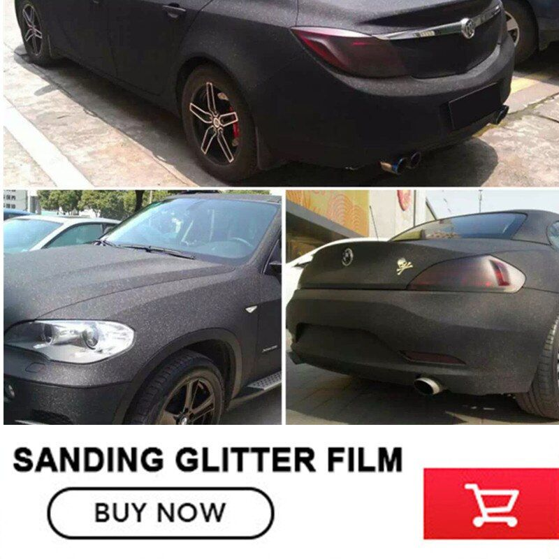 size:1.52x30m(5x98FT ) black Car Styling Glitter Vinyl Film for car vinyl wrapping Matt Sanding glitter vinyl wrap free shipping