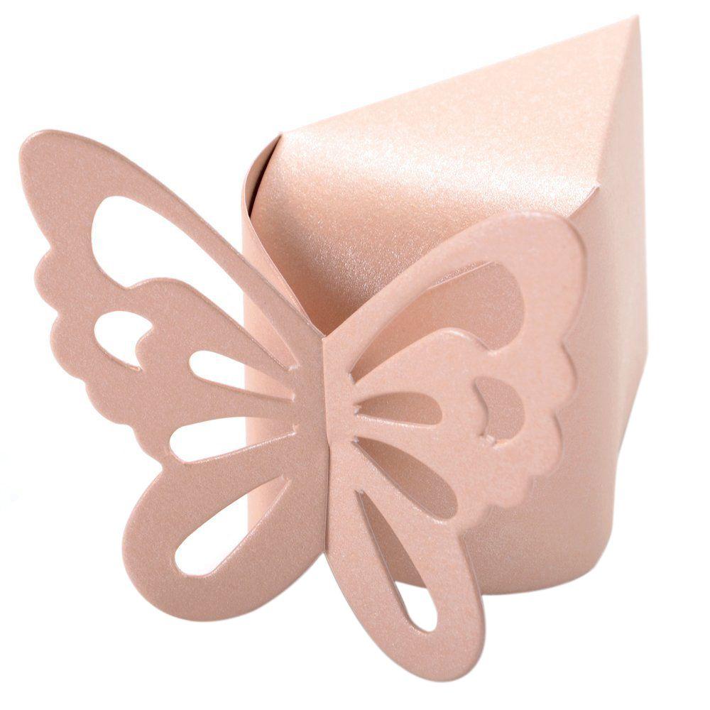 50 Pcs Papillon Faveur Cadeau Bonbons Boîtes Gâteau Style pour De Noce Baby Shower (Rose)