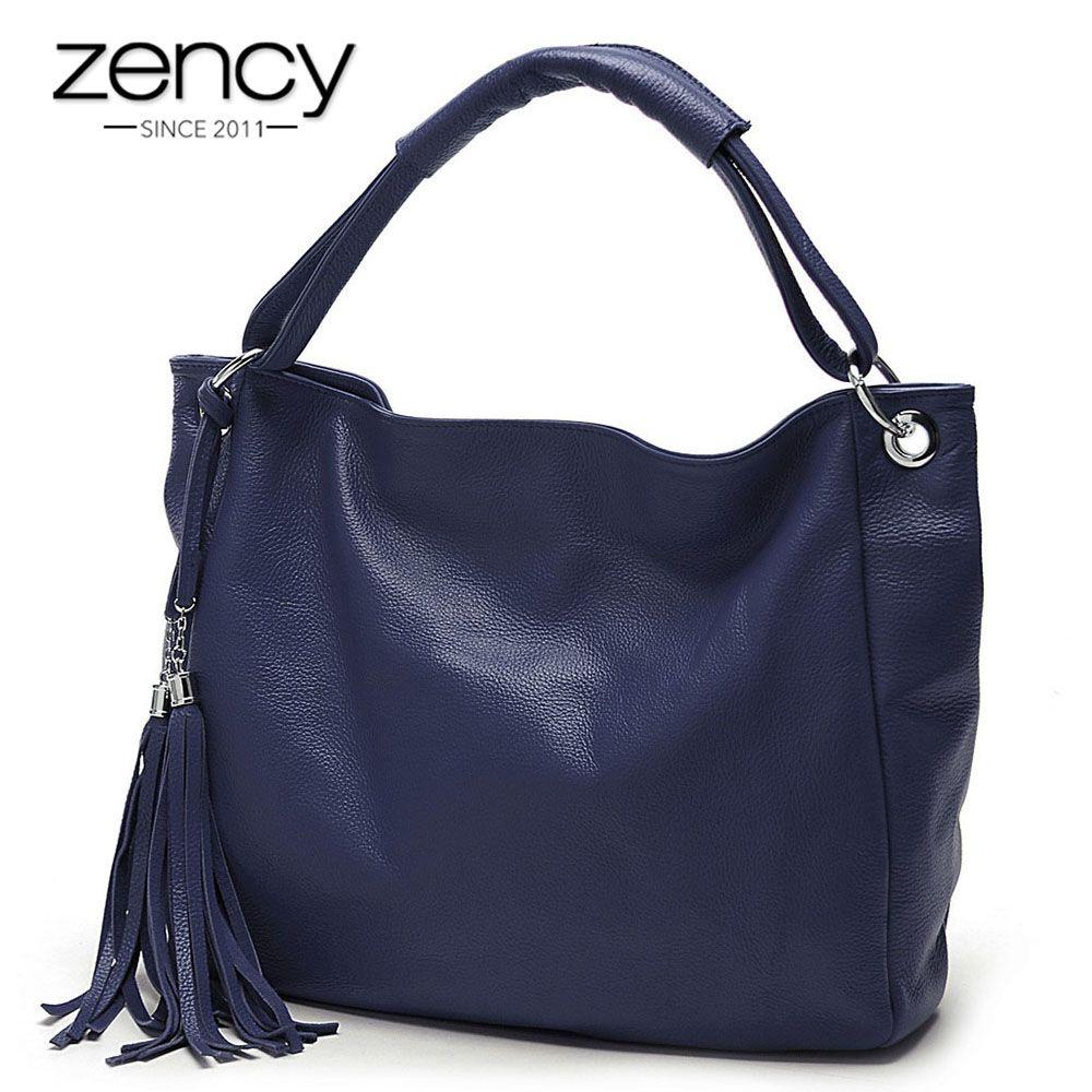 Zency 10 Fashion Colors 100% Soft Genuine Leather Tassel Women's Handbag Ladies Shoulder Bags Messenger Satchel Crossbody Purse