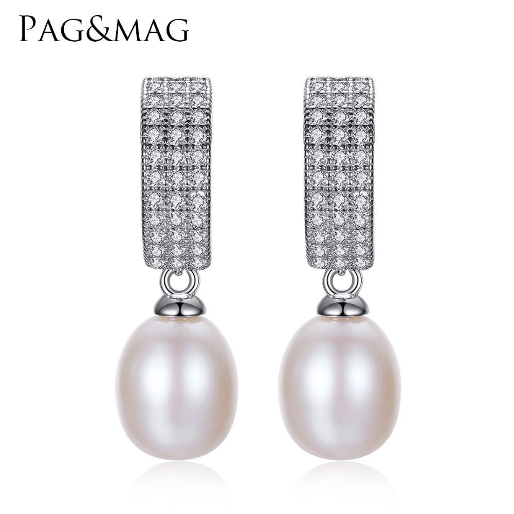PAG et MAG Simple Classique 925 En Argent Sterling Femmes De Mode Perle Boucles D'oreilles Usage Quotidien 8-9mm D'eau Douce Naturelle perle de La Chine