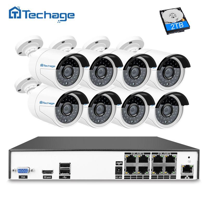 Techage H.265 8CH NVR 4MP POE CCTV System (8) Waterproof Outdoor Metal Case IP Camera IR Night Vision Security Surveillance Kit