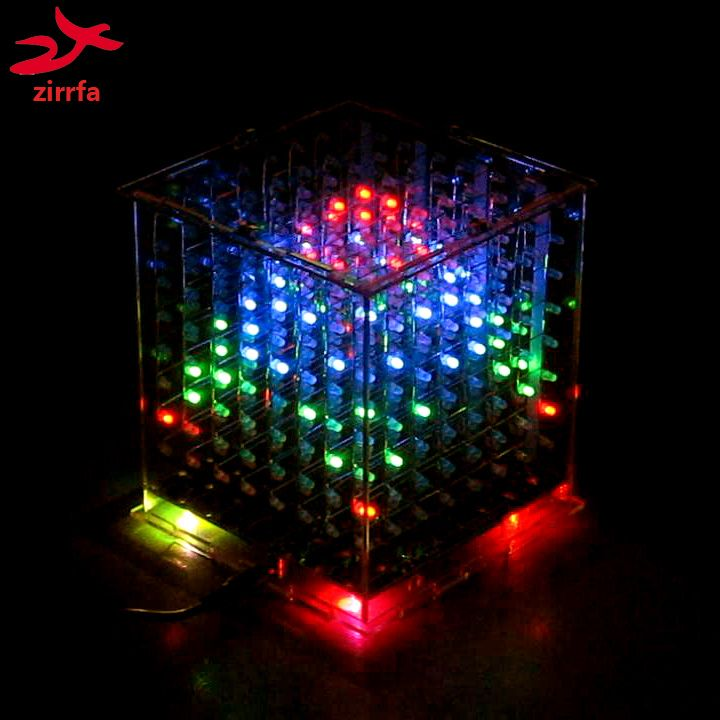 zirrfa DIY 3D 8s multicolor mini light <font><b>cubeeds</b></font> Excellent animation 3D8 8x8x8 display,Christmas Gift led electronic diy kit