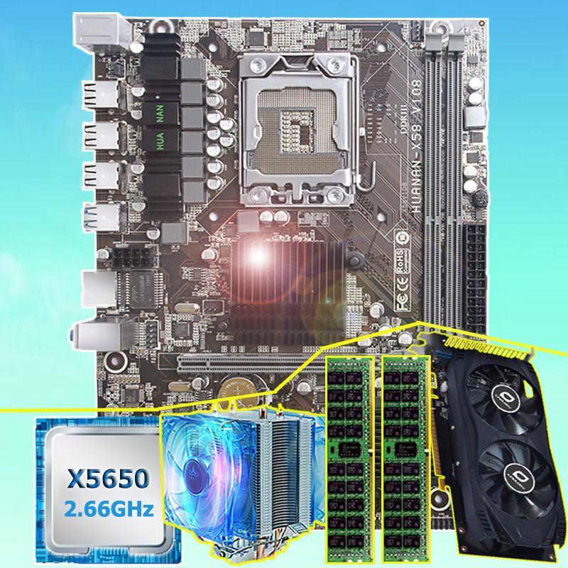Marke motherboard bündel HUANAN ZHI X58 motherboard mit CPU Intel Xeon X5650 16G (2*8G) REG ECC speicher video karte GTX750Ti 2GD5