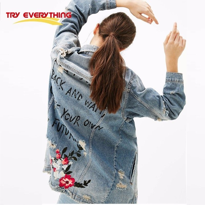 Try Everything Floral Embroidery Jacket Coat Spring Long Ripped Denim Jacket Women Plus Size Jeans Jacket Women 2018 Tops 3XL