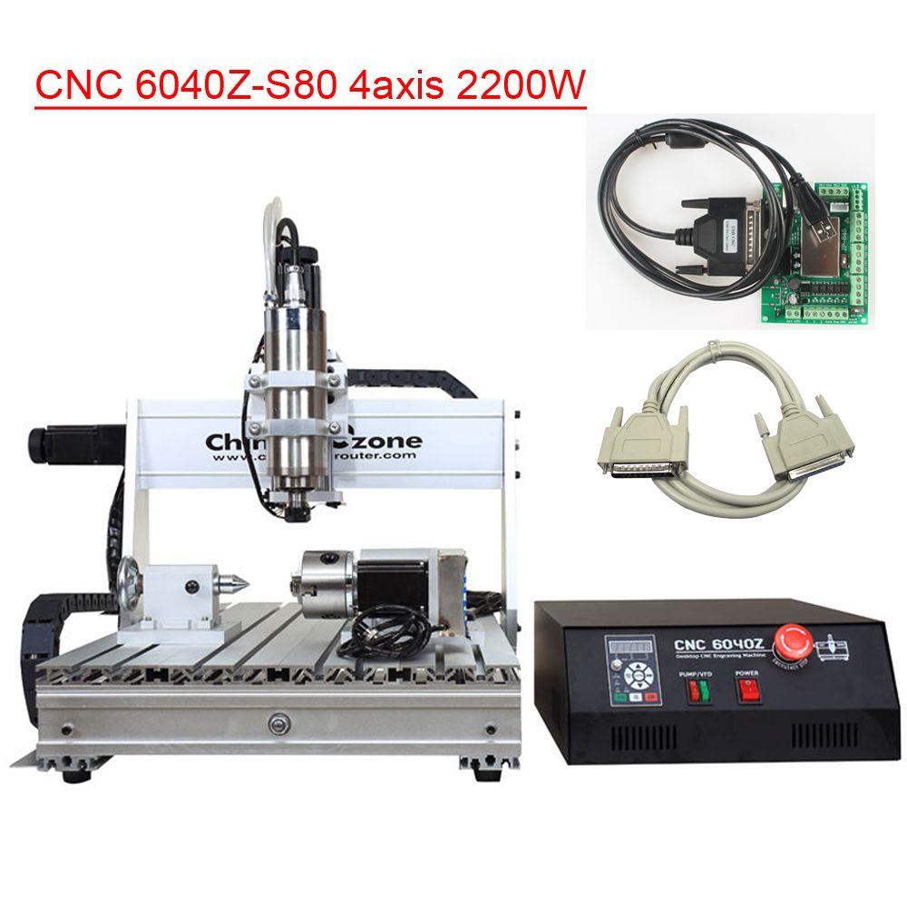 CNC 6040 2200W 4Axis Hobby Desktop Mini Aluminum for Wood Metal Aluminum CNC Cutting Milling Drilling Engraving Machine