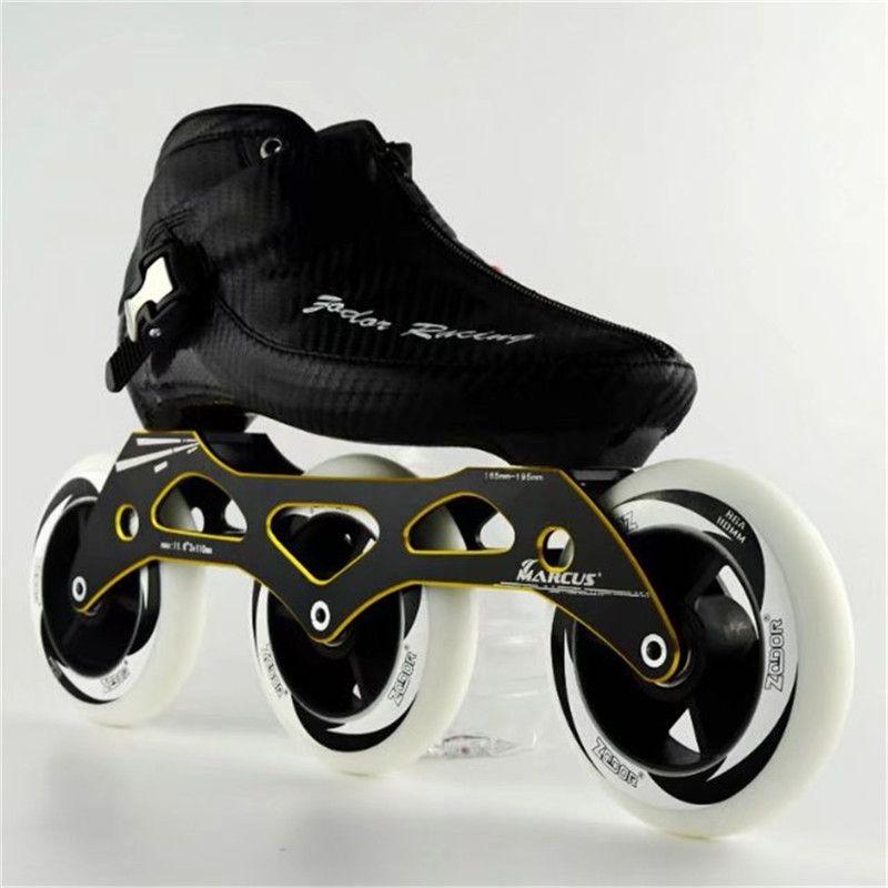 Carbon Fiber Fiberglass Speed Inline Skates Three Wheel Kid's Adult Competition Street Racing Sport Shoes Training Patines F026