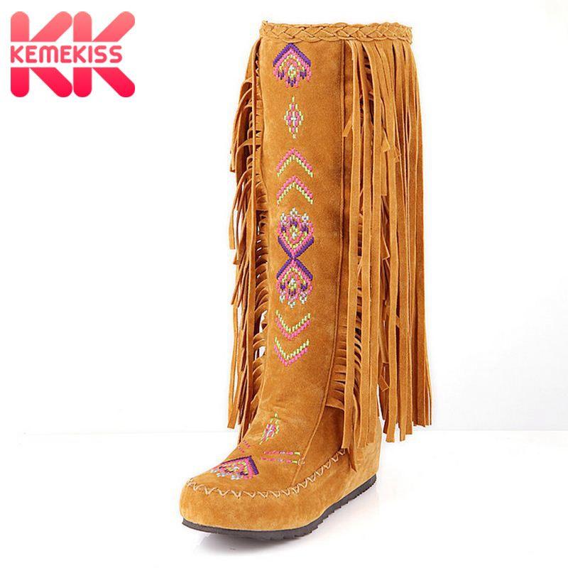 KemeKiss Fashion Chinese Nation Style Flock Leather Women Fringe Flat Heels Long Boots Woman Tassel Knee High Boots Size 34-43