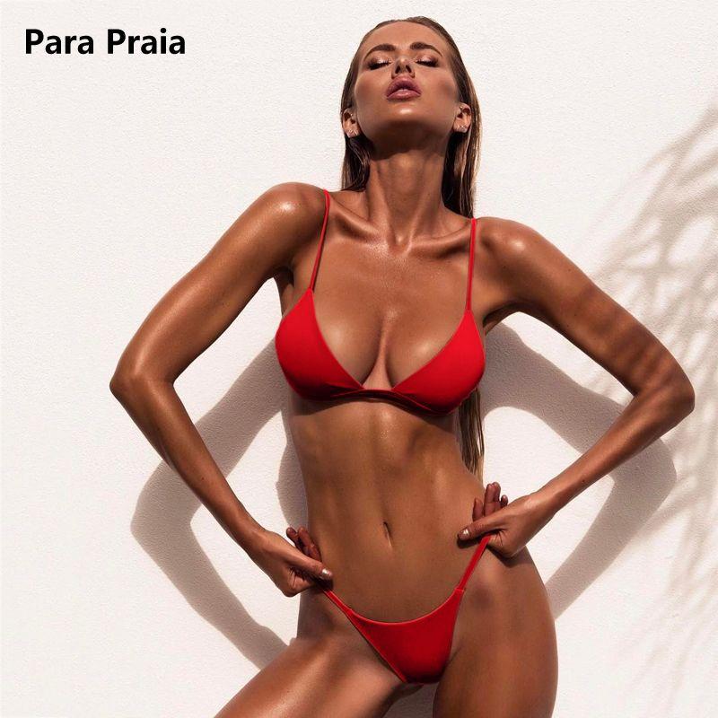 9 couleurs solide Bikini ensemble 2019 Sexy Push Up maillots de bain femmes brésilien maillot de bain taille basse Biquini licou deux pièces maillot de bain