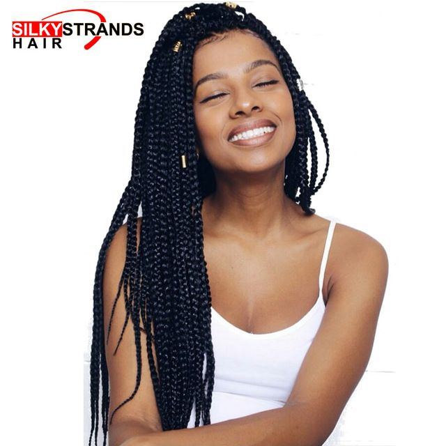 Silky Strands Crochet Box Braids Crochet Braids Hair Extensions Kanekalon Synthetic Braiding Hair Ombre Colors Bulk 14 18 24''