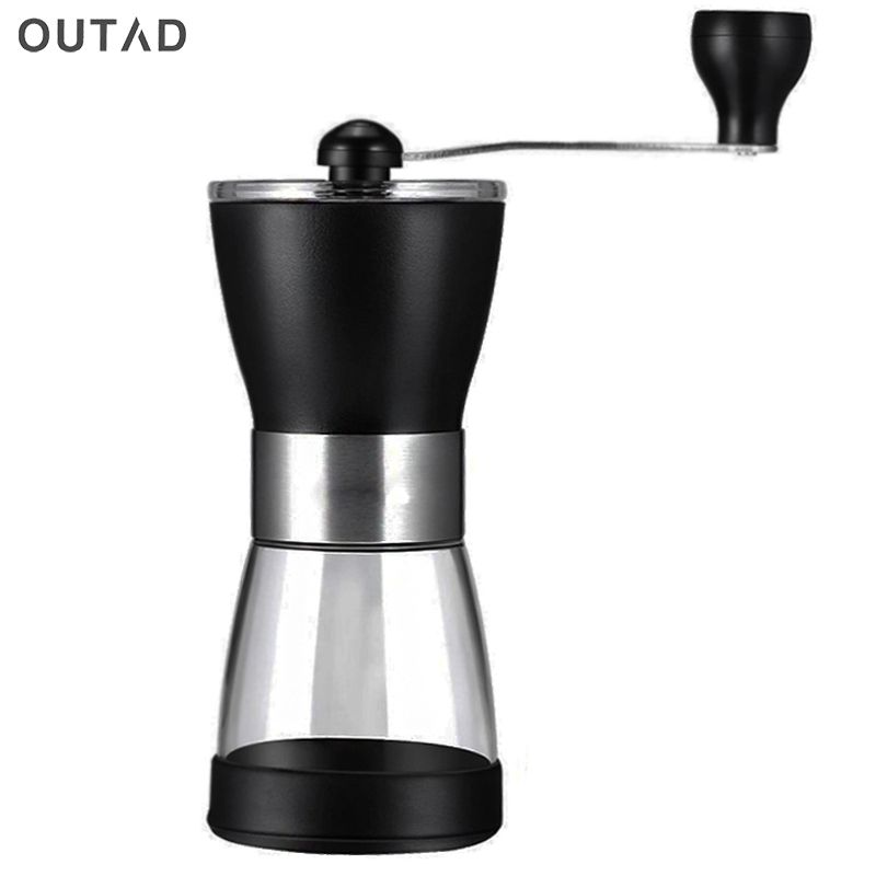 OUTAD Portable Manual Ceramic Coffee Grinder Washable ABS Ceramic core Stainless Steel Home Kitchen Mini Manual Hand Coffee