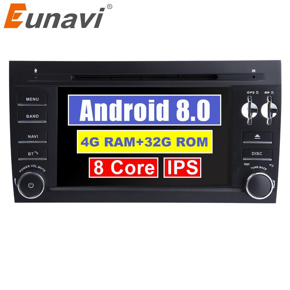 Eunavi Reine 2 Din Android 8.0 Auto DVD player für Porsche Cayenne 2003 2004 2005 2006 2007 2008 2009 2010 Bluetooth GPS Radio USB