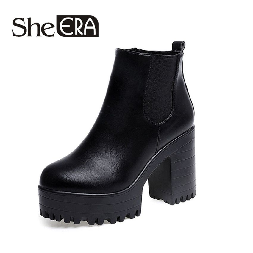 Botas Mujer Fashion Women Boots Square Heel Platforms Zapatos Mujer PU Leather <font><b>Thigh</b></font> High Pump Boots Motorcycle Shoes Hot Sale