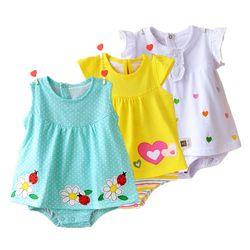 Bébé Fille Barboteuses D'été 100% Coton Infantile Combinaisons Roupas Bebes Coloré de Bande Dessinée Nouveau-Né Princesse Jupe Enfant Filles Vêtements