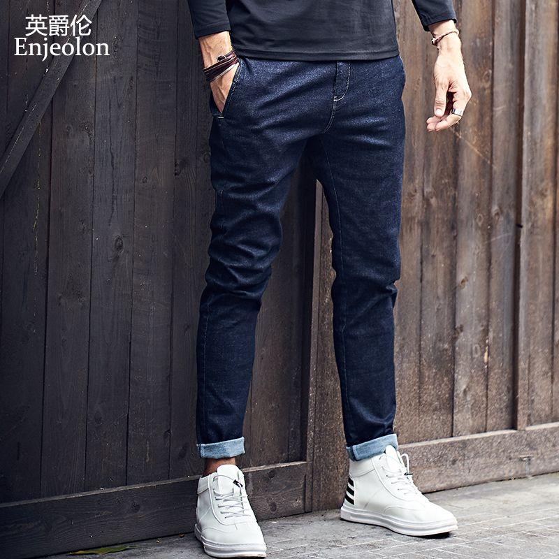 Enjeolon брендовый Топ Новинка 2017 высокого качества полная длина джинсы Мужчины, Модные Узкие прямые джинсы одежда мужчин повседневные Брюки д...