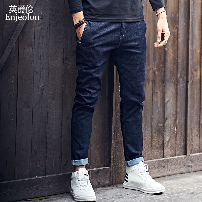 Enjeolon brand top 2017 new high-quality full length jeans men, fashion Slim Straight jeans clothes males Causal Pants KZ6141