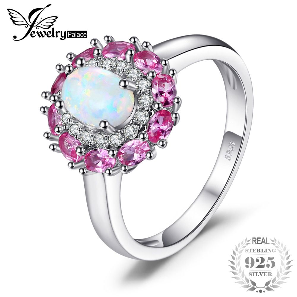 JewelryPalace Fashion 0.6ct Created Opal Cluster Halo Ring For Women Real 925 Sterling Silver Fine Ring Jewelry Gift