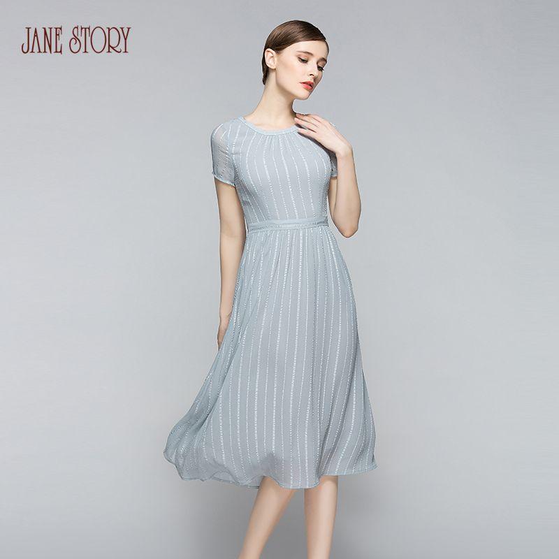 Jane Story 2017 thin summer dress o-neck short-sleeve slim formal elegant vestido vintage office dress shiner solid dress