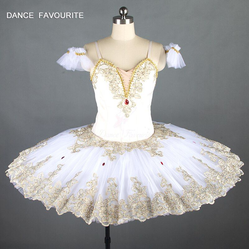 New sleeping beauty variation professional ballet tutus cream white and gold classical ballet costume women Raymonda tutu dress