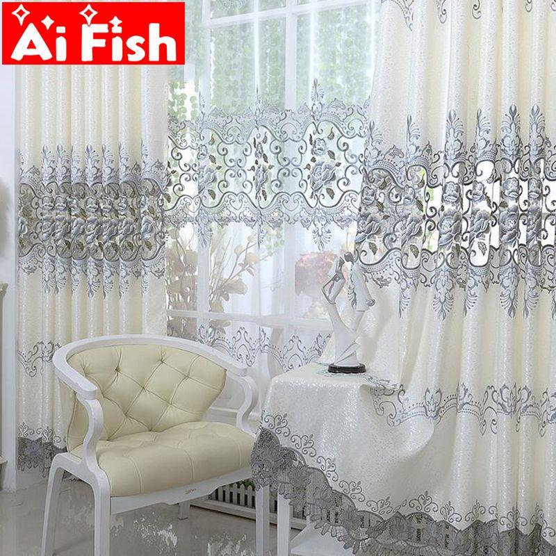L'europe Brodé Soluble Dans les Fenêtres de La Maison Cuisine Rideaux De Rideaux De Luxe Pour Salon Chambre Shaing Tissu Décor AP147-20