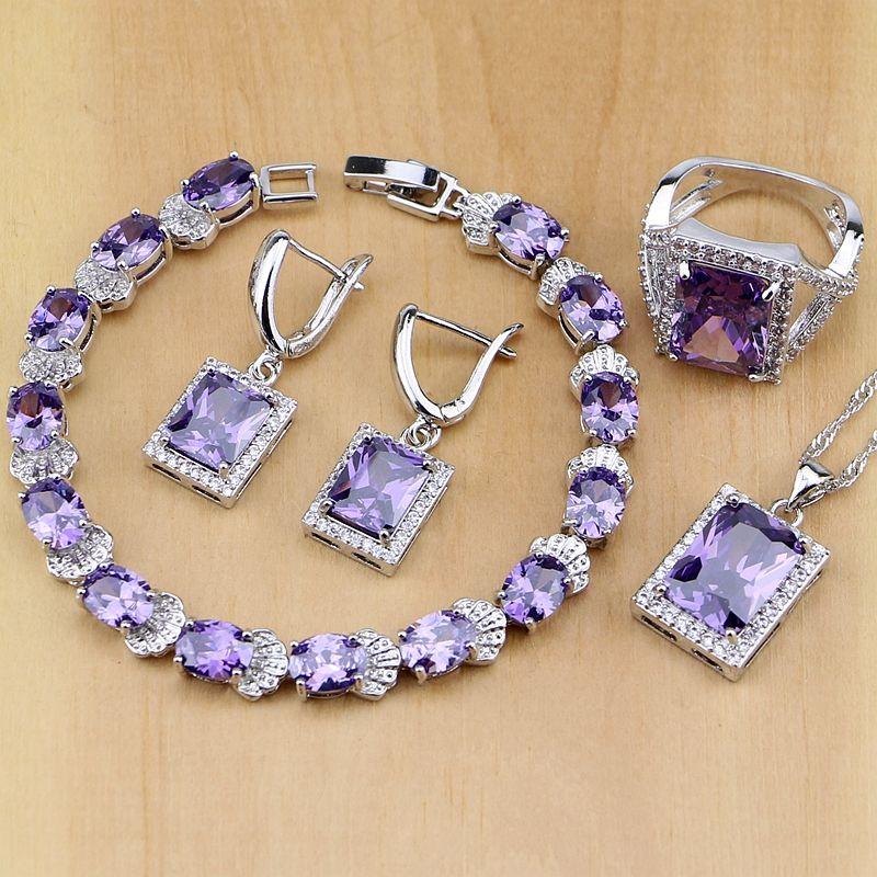 925 Sterling Silver Jewelry Purple CZ White Zircon Jewelry Sets For Women Earrings/Pendant/Necklace/<font><b>Rings</b></font>/Bracelet