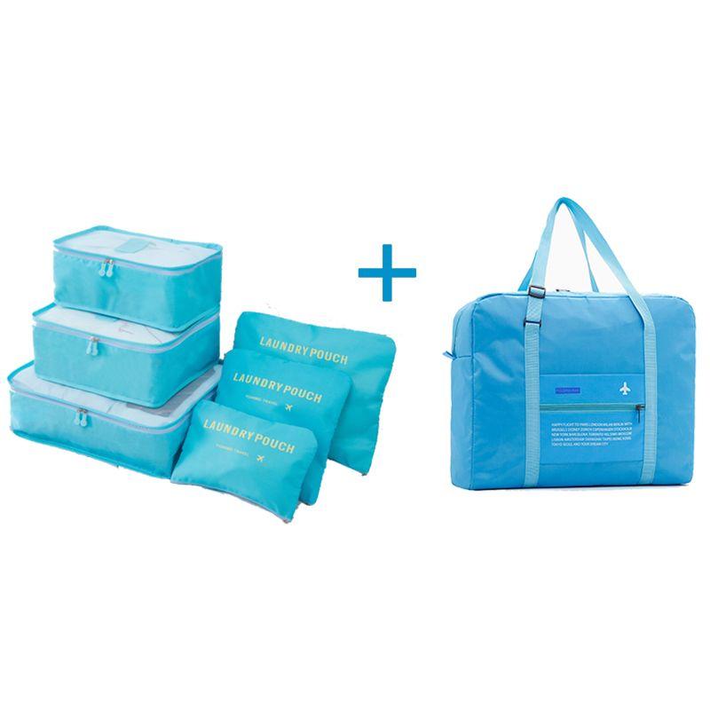 Un ensemble sac de voyage mode haute qualité Double fermeture à glissière étanche Polyester femmes sac de voyage organisateur de bagages sacs d'emballage Cube
