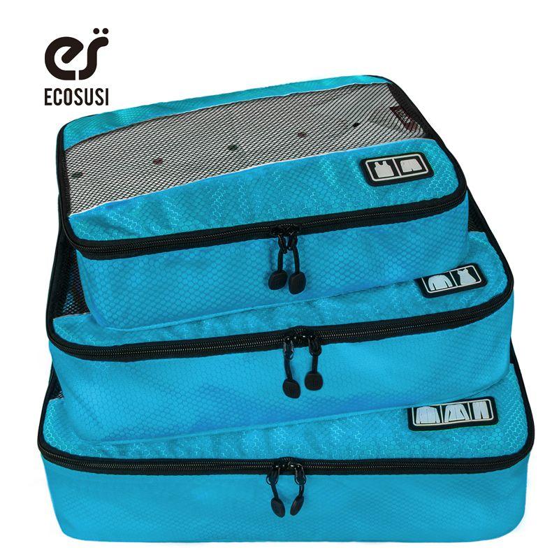 Ecosusi nueva bolsa de accesorios de viaje 3 unids/set cubos de embalaje bolsas de poliéster para la ropa de embalaje de equipaje organizadores bolsa