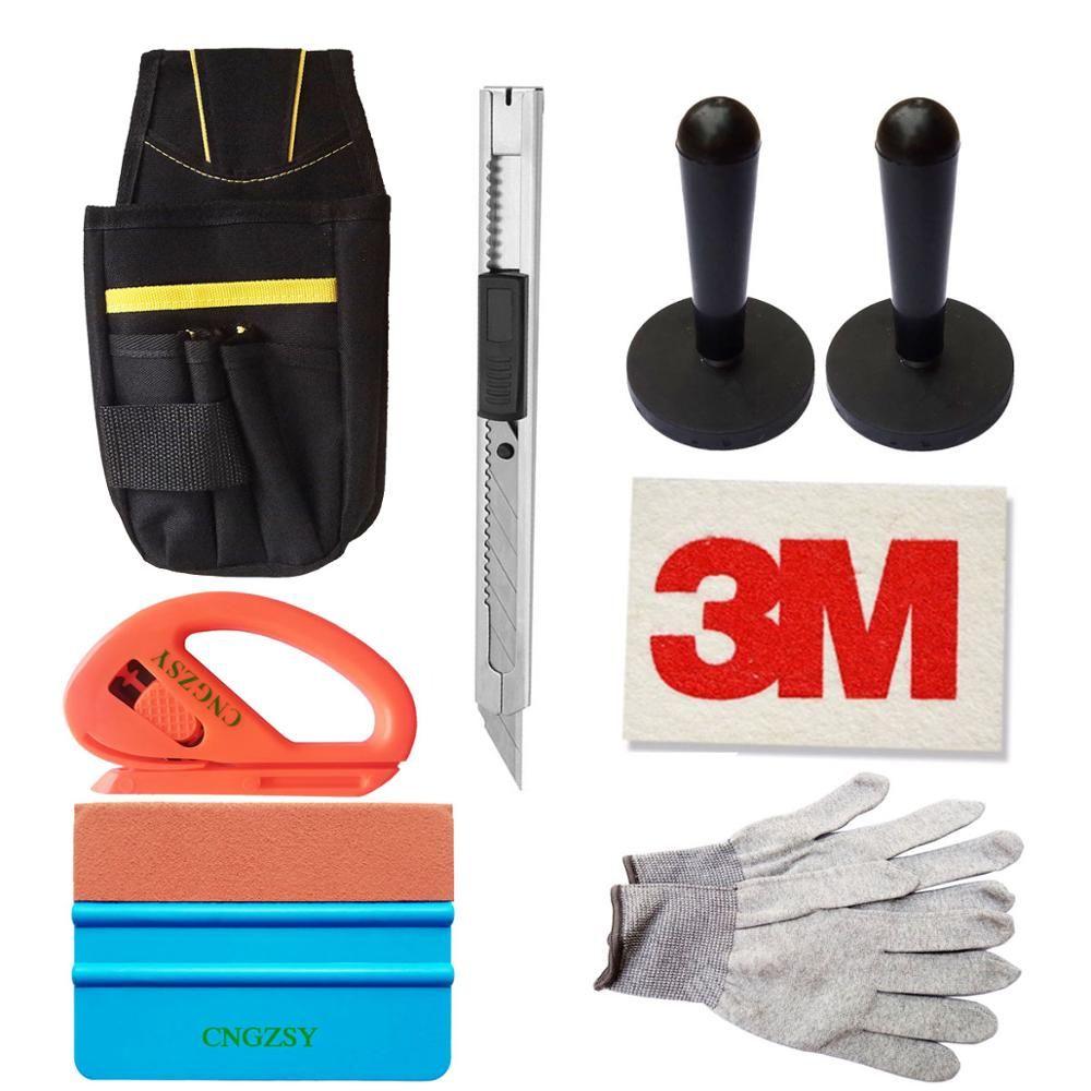CNGZSY fenêtre pellicule de film outils Kit sac vinyle Cutter Art couteau laine raclette aimant supports Nylon gants véhicule voiture soin outil K21