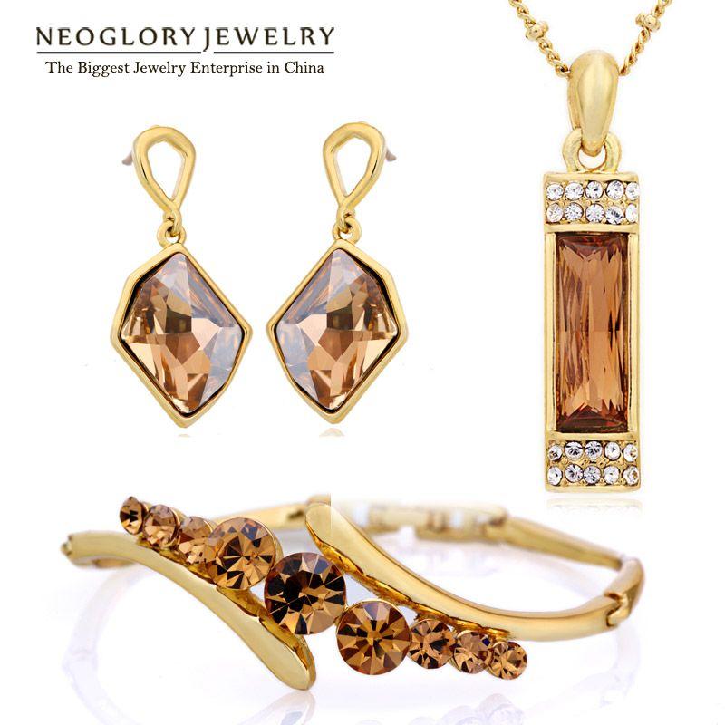Neoglory MADE WITH SWAROVSKI ELEMENTS Crystal Beads Africanos de La Joyería Del Encanto de La Boda Regalos 2017 Nuevo JS9 G1