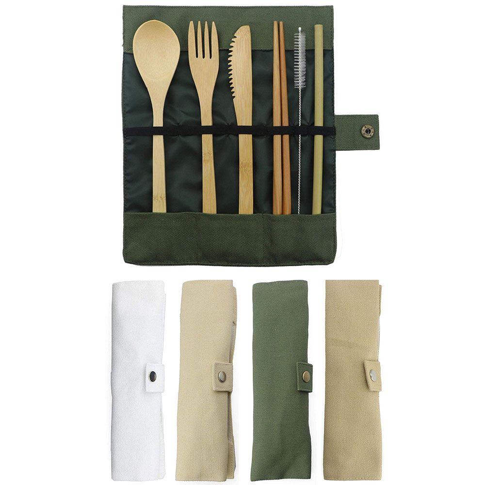 7-pièce En Bois Couverts Couverts Set Bambou Paille Ensemble De Vaisselle Avec Sac En Tissu Couteaux Fourchette Cuillère Baguettes Voyage Gros