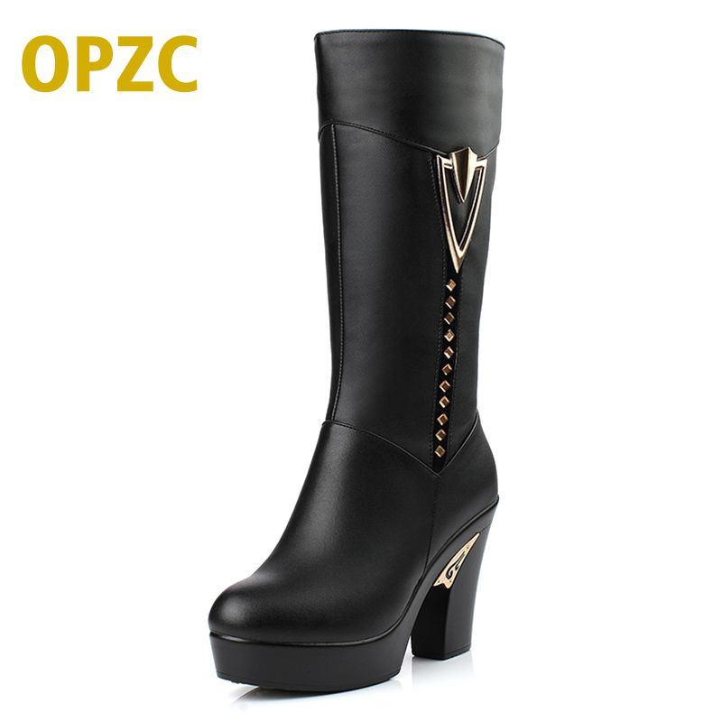 2018 winter women boots. first layer of leather high-heeled genuine leather boots. Gaotong thick with long-barreled boots wool