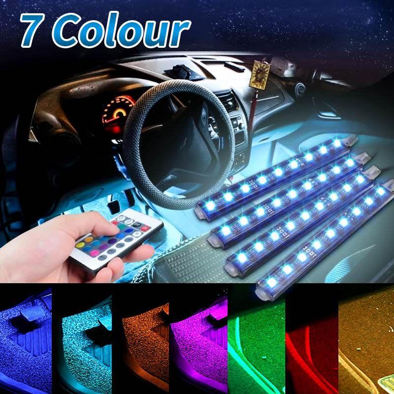 4Pcs 5050 9 SMD 10W LED RGB Car Auto Interior Floor Decorative Atmosphere Strip Pathway Deco Floor Light Remote Control DC12V