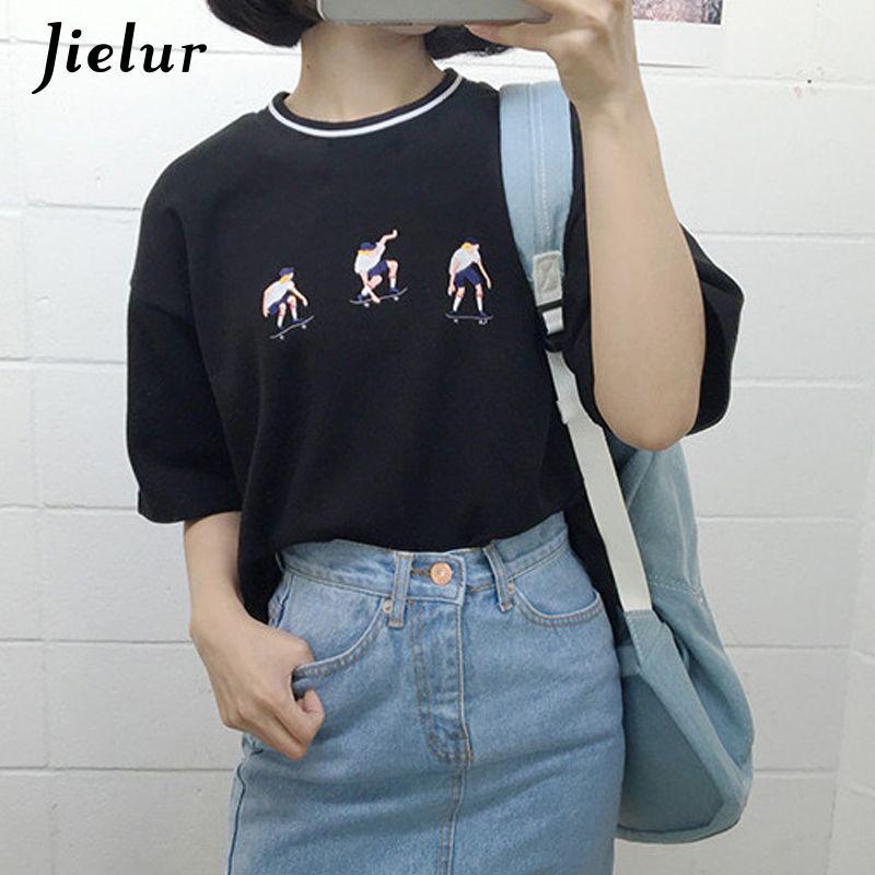 Jielur 2019 collège Harajuku Style Skateboard juvénile T-shirt exquise broderie lâche à manches courtes T-shirts femmes haut décontracté