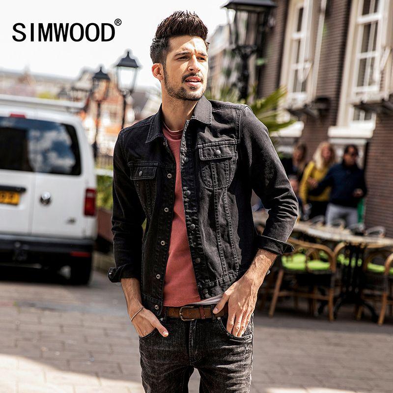 SIMWOOD 2018 Frühling Denim Jacken Männer Mode Taschenherrenhosen Jean Jacke Slim Fit Beiläufige Oberbekleidung Plus Größe Mäntel NK017004
