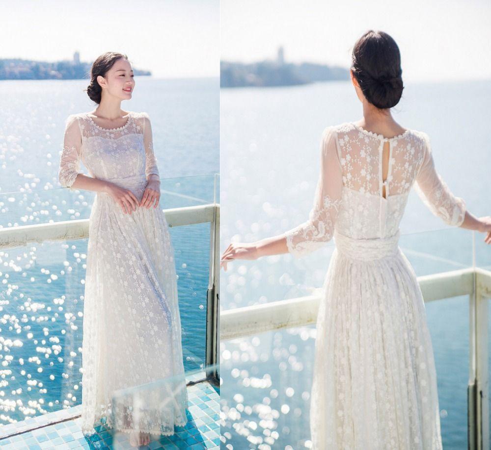Femmes Whrite fête de mariage longue bohème robe vacances voyage été dentelle évider vestidos de fiesta en mousseline de soie tenue décontractée