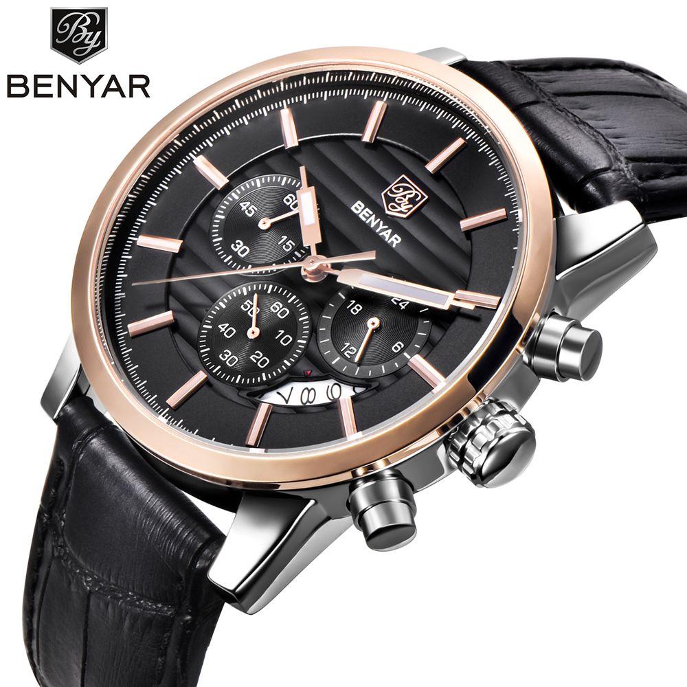 Reloj Hombre 2017 <font><b>BENYAR</b></font> Fashion Chronograph Sport Mens Watches Top Brand Luxury Military Quartz Watch Clock Relogio Masculino