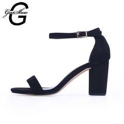 GENSHUO 2018 correa del tobillo mujeres sandalias verano Zapatos Mujer Open Toe Chunky tacones altos sandalias del vestido de partido del tamaño grande 42