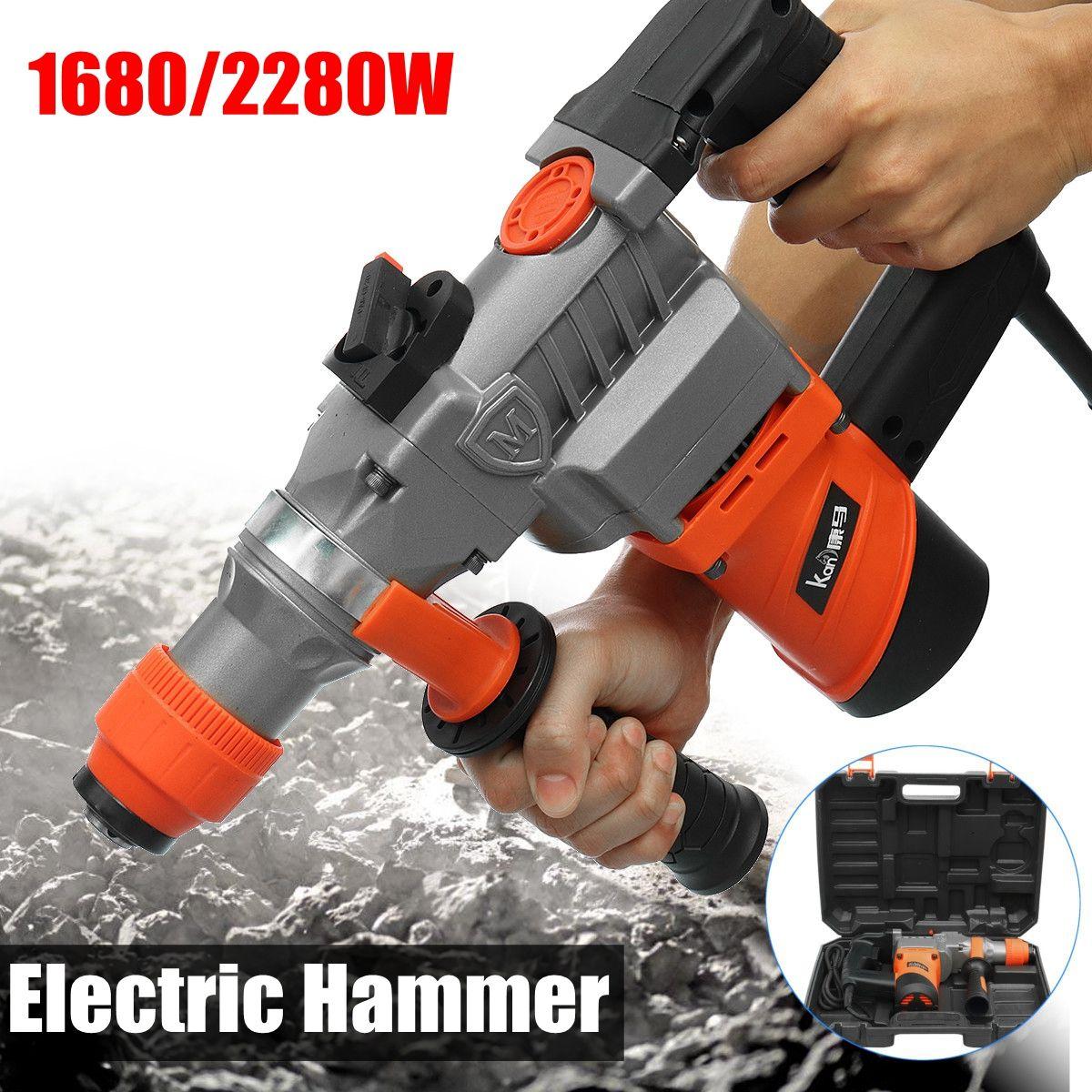 1680/2280W Watt 4500bpm Electric Demolition Jack Hammer Concrete Breaker Punch Metal Box