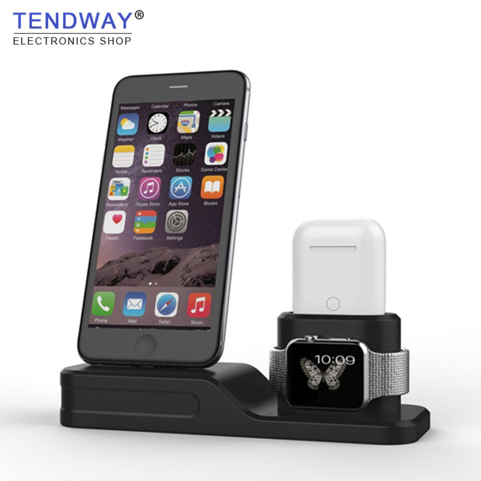 Tendway 3 in 1 Mobile Phond holder for Iphone 7 8 X  Sillicone Phone Stand for Iphone 6 Dock Cell Phone Holder for Apple