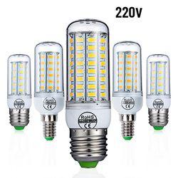 E27 E14 CONDUZIU a Lâmpada Lâmpada LED AC 220 v 240 v Milho Lâmpada Vela 24 36 48 56 69 72 LEDs Chandlier Iluminação Para Decoração de Casa Luzes LED